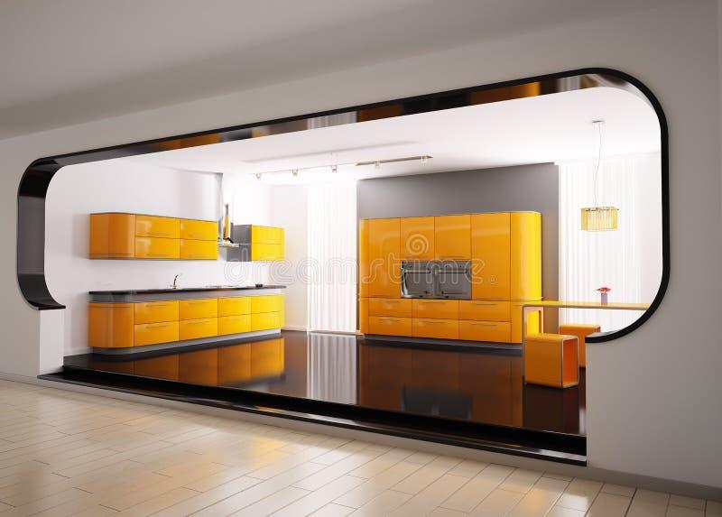 Orange graue Küche 3d stock abbildung. Illustration von ...