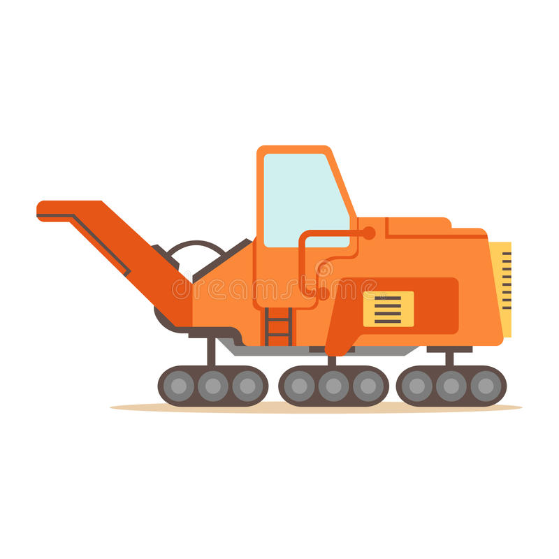 Orange Gravel Spreading Graver Machine , Part Of Roadworks And Construction Site Series Of Vector Illustrations. Flat Cartoon Drawings With Professional City royalty free illustration