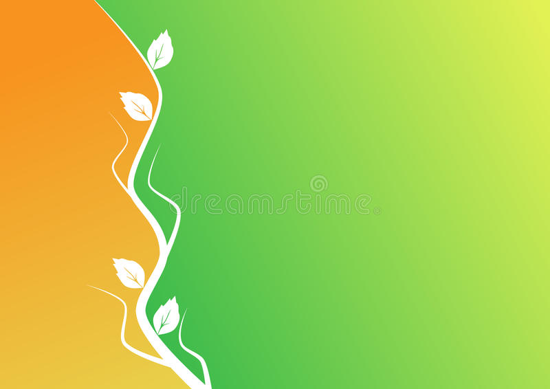 Orange And Green Background With The Plant Motif Stock Photo