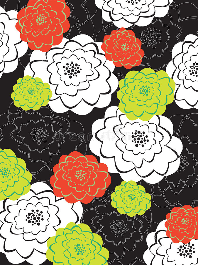 Download Orange And Green Blooms On Black Stock Vector - Image: 4973592