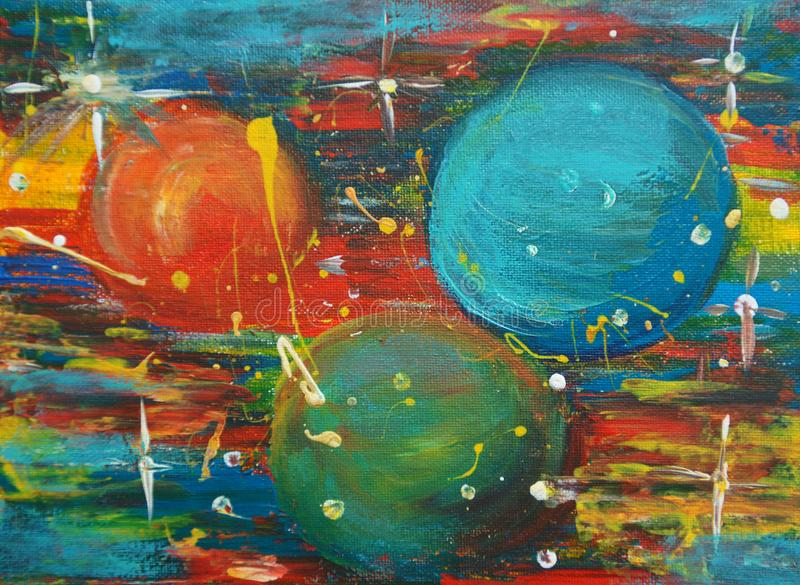 Colorful planets with stars in a space. Orange, green and blue planets are in the space. They are so big. Varicolored cosmos stock illustration
