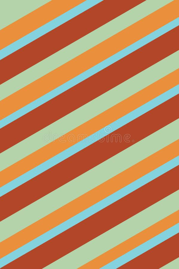 Striped Orange, Green and Blue Background Texture. Orange, green, and blue stripes create a beach feeling in this 70s retro diagonally striped background royalty free illustration
