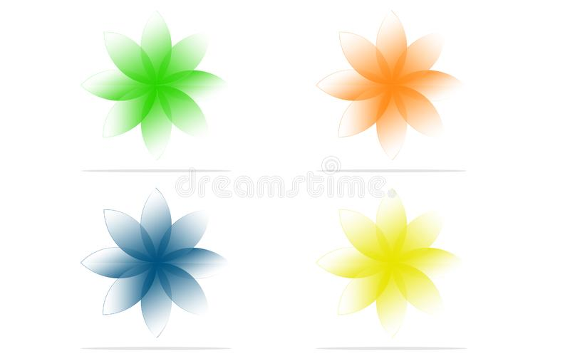 Orange, Green, Blue, Yellow flowers with grey shades vector on white background royalty free illustration