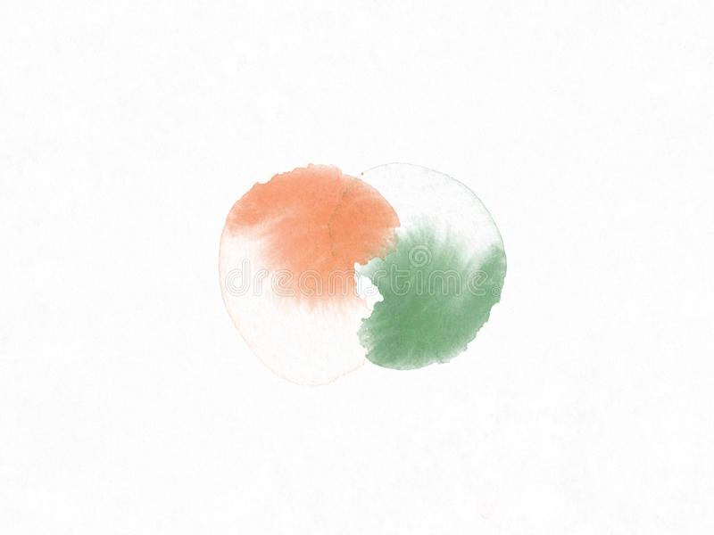 Orange and green color brushing like yin yang symbol by watercolor. Balancing sign background. stock illustration