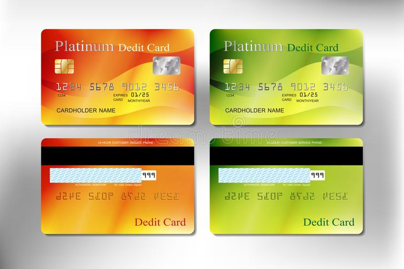 Orange and green color realistic credit or debit card royalty free stock photo