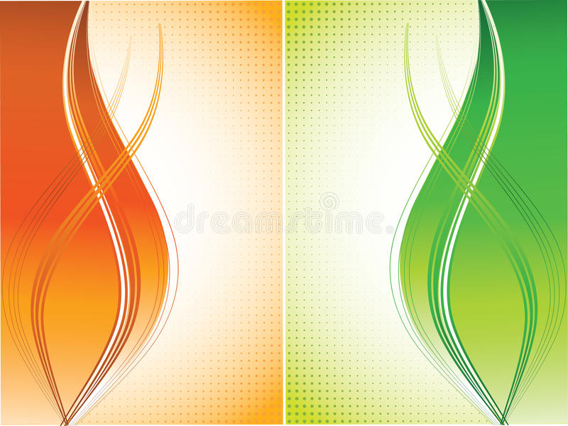 Orange and green curves background stock illustration