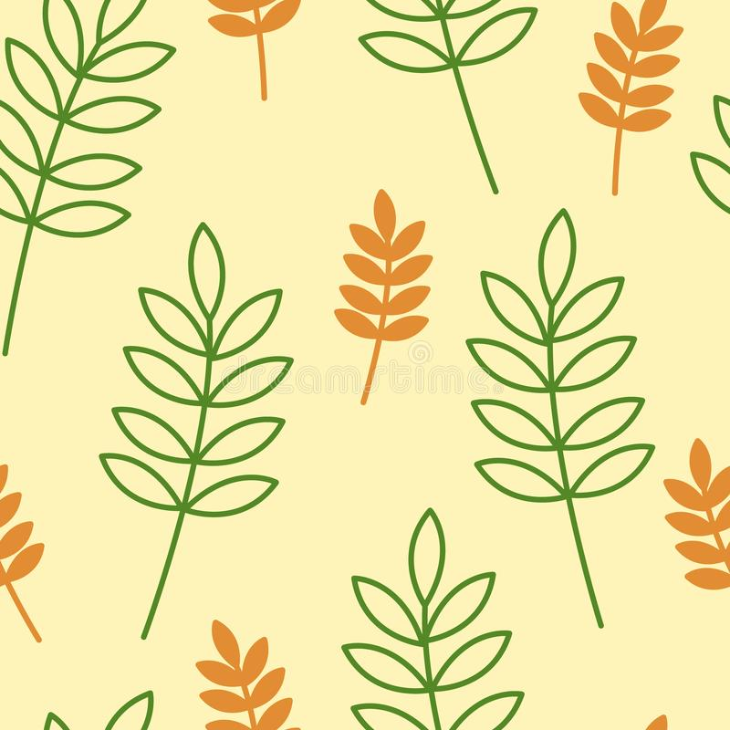 Orange and green leaves vector seamless pattern with yellow background vector illustration