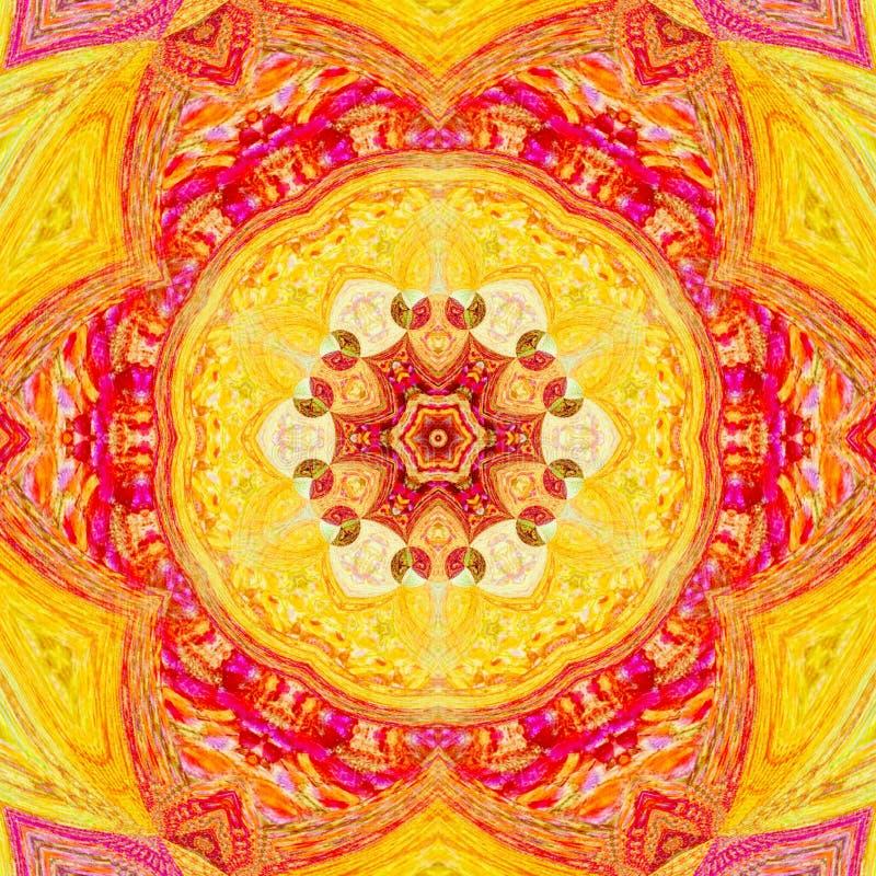 Bright orange and grenadine mandala of svadhisthana chakra royalty free stock photo