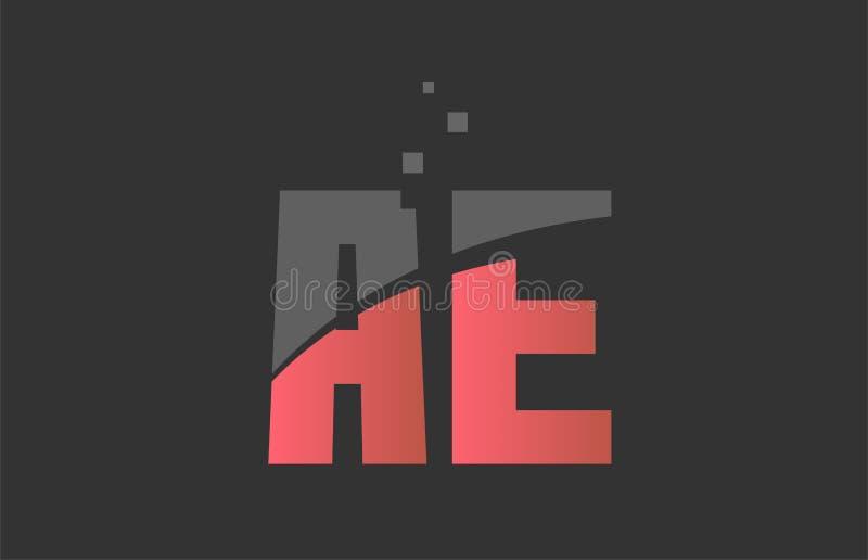 Orange grey alphabet letter combination AE A E for logo icon design. Orange grey alphabet letter AE A E logo combination design suitable for a company or stock illustration