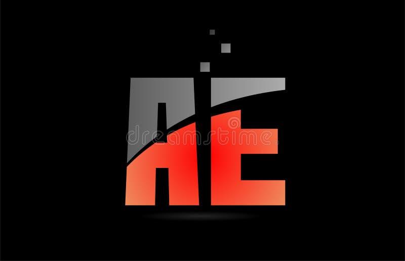 Orange grey on black background alphabet letter combination AE A E for logo icon design. Orange grey on black background alphabet letter AE A E logo combination royalty free illustration