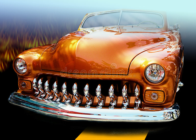 The Orange Grill. Origianl digital art automotive series. Created from a original photograph and taken into Photoshop