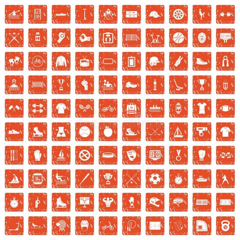 100 orange grunge figée d'équipe de sport par icônes illustration libre de droits