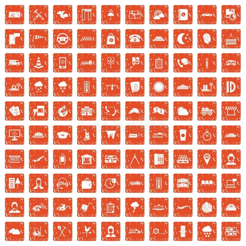 100 orange grunge figée d'expéditeur par icônes illustration libre de droits
