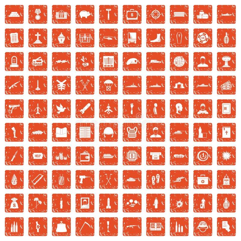 100 orange grunge figée de crimes de guerre par icônes illustration stock