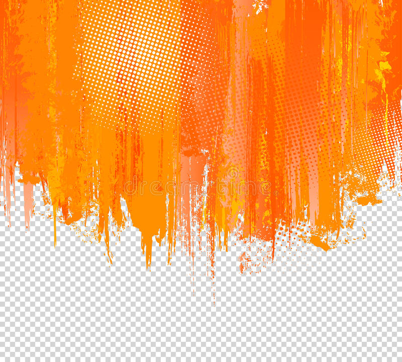 Orange Grunge Paint Splashes Background. Vector with place for your Text. Splash Graffiti Texture Halftone Dots. Color royalty free illustration