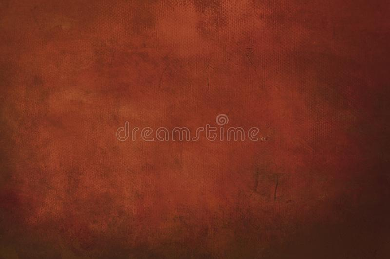 Orange grungy painting background. Abstract dark red canvas detail texture or background royalty free stock image