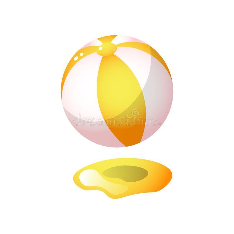 Orange guld- färg för gummistrandboll på varm sand stock illustrationer
