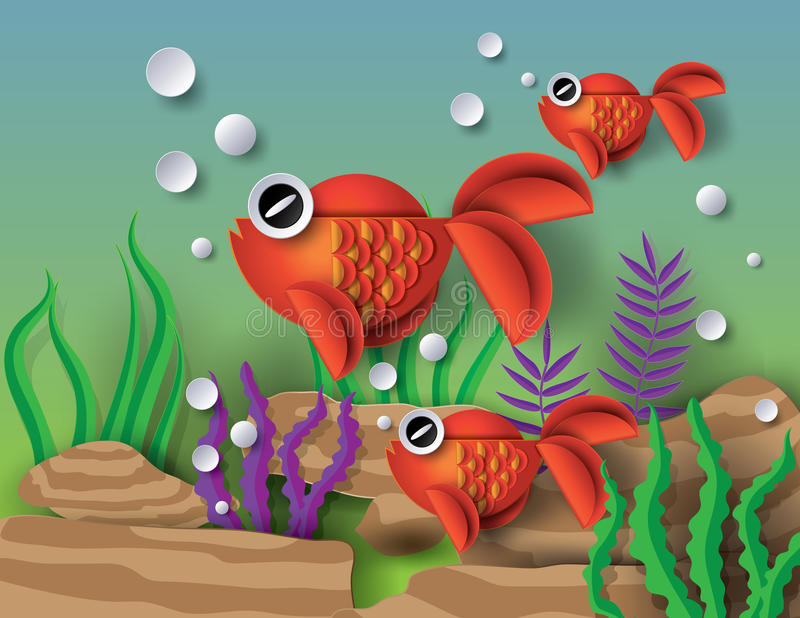 Orange guldfisk med knyckar stock illustrationer
