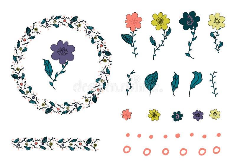 Orange, gult purpurfärgat blommaklotter, klottersidor och cirkel Krans- och blommaborste vektor illustrationer