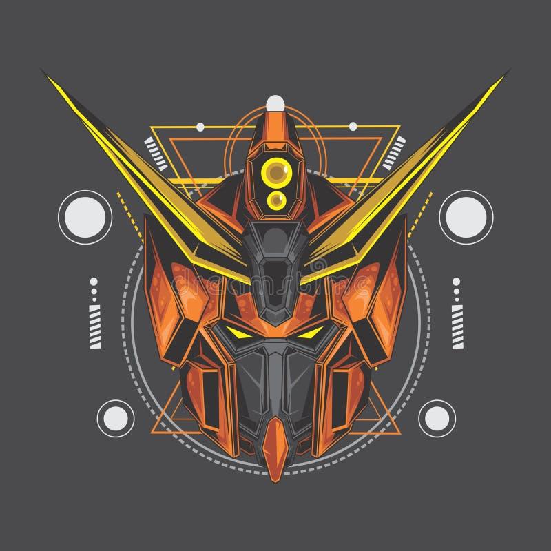 orange gundam och sakral geometri vektor illustrationer