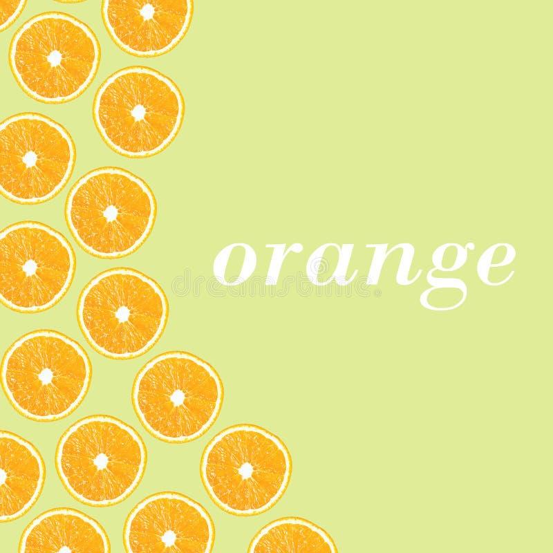 Orange Hälften auf einem grünen Hintergrund in Form von folny stock abbildung