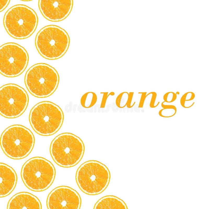 Orange Hälften auf einem weißen Hintergrund in Form von folny und Badekurort lizenzfreie abbildung
