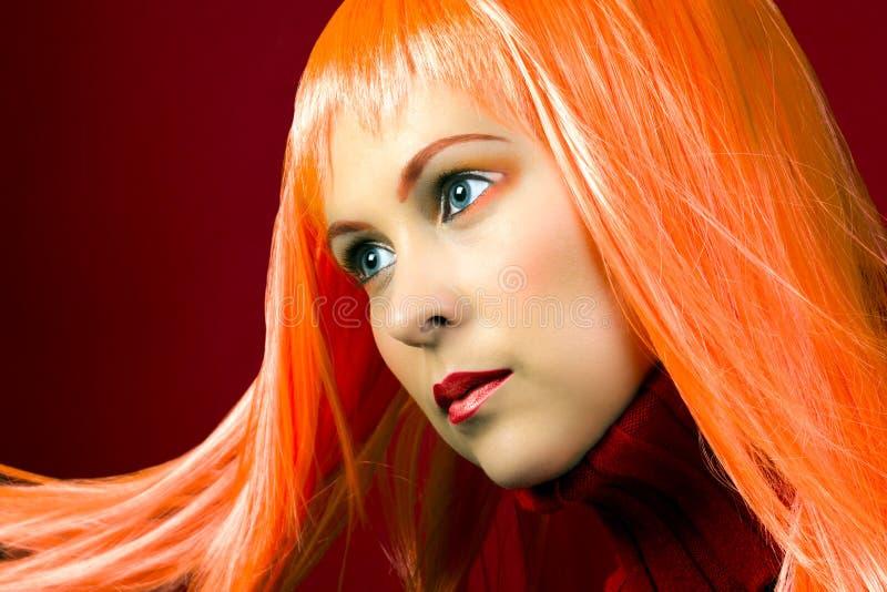 Orange Haarfarbfrisur stockbilder