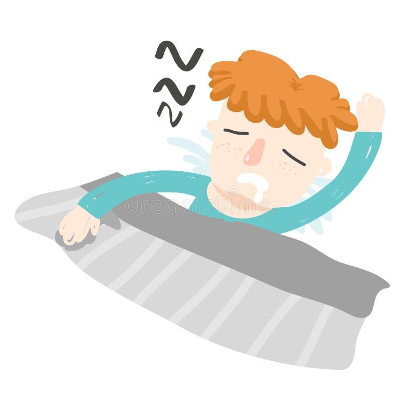 Orange hair boy sleep turn face up vector illustration