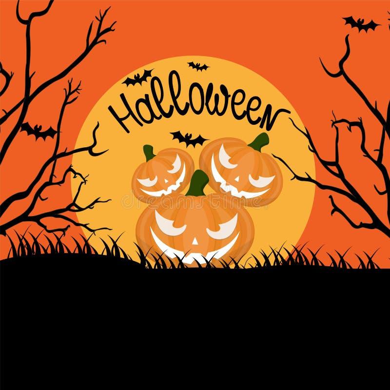Orange halloween bakgrund med läskiga pumpor, fullmåne, träd royaltyfri illustrationer