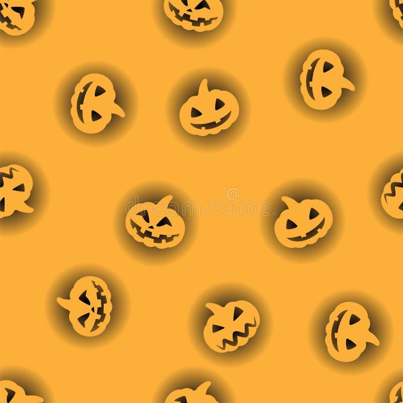 Orange Halloween-Kürbis mit schwarzem hintergrundbeleuchtetem Musterhintergrund Halloween-Kürbisgesicht für glücklichen Feiertag  stock abbildung