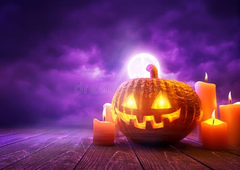 Orange Halloween-Kürbis und purpurroter Hintergrund vektor abbildung