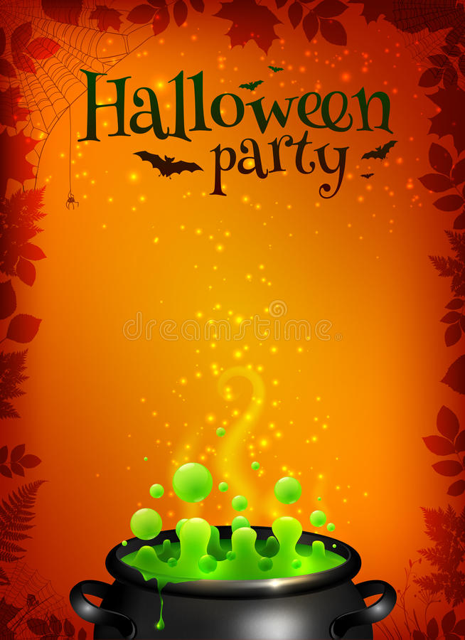 Orange Halloween-Plakatschablone mit grünem Trank lizenzfreie abbildung