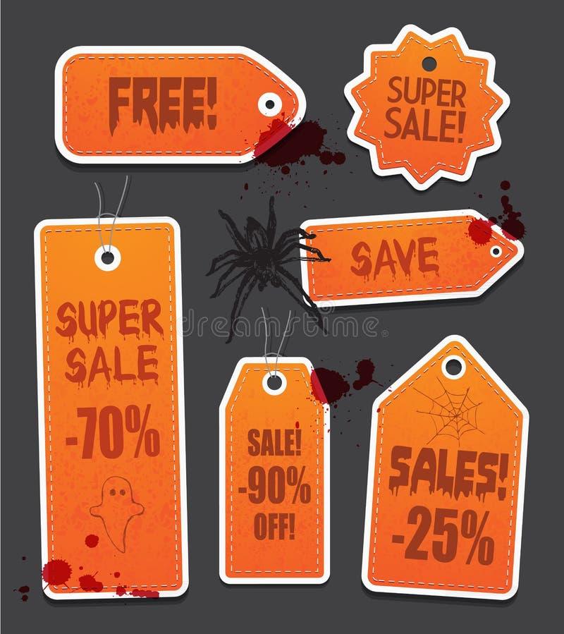 Orange Halloween-Preisverkaufstags auf Schwarzem vektor abbildung