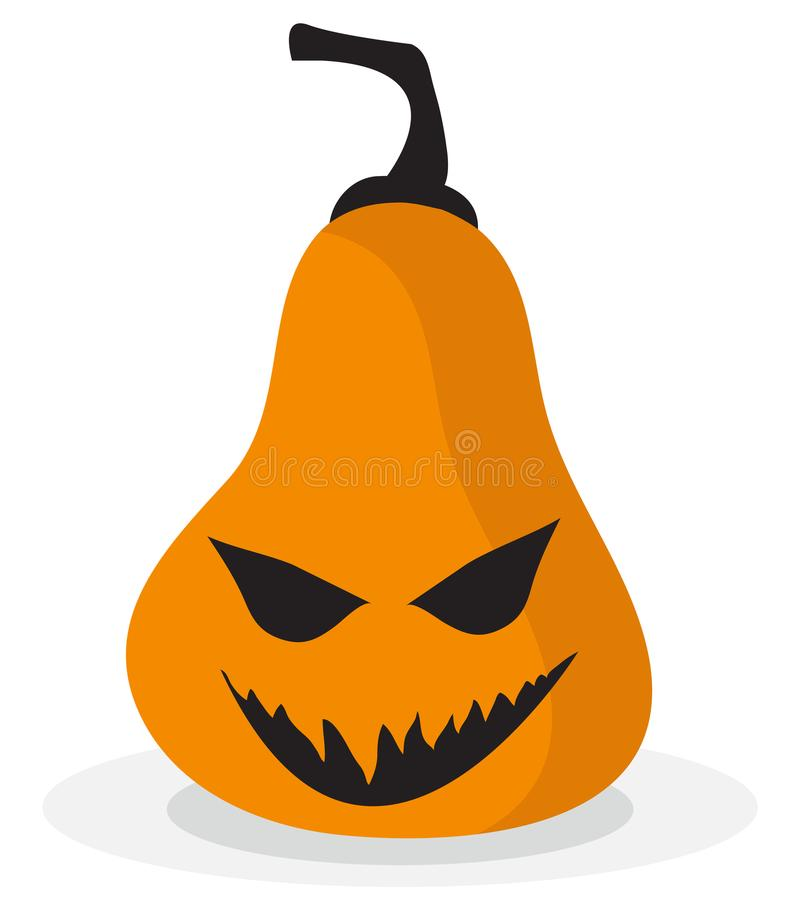 Scary and funny halloween pumpkin icon stock illustration