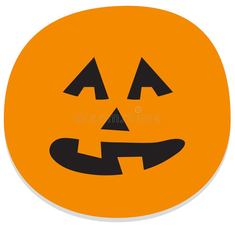 Sticker with spooky halloween face vector illustration