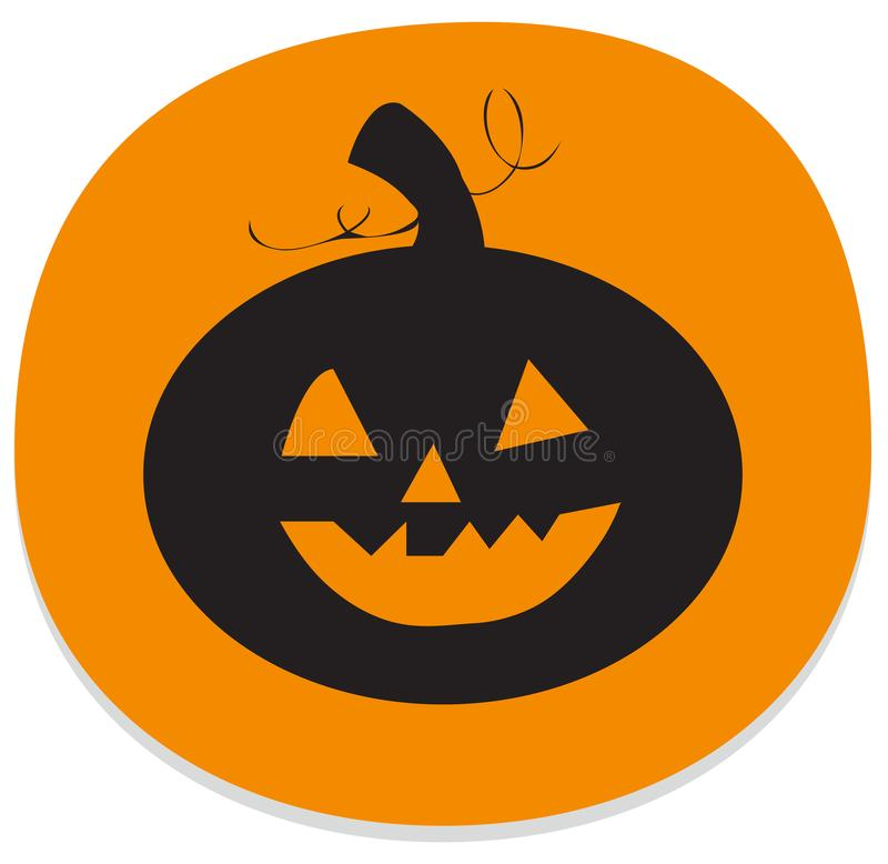 Sticker with smiling halloween pumpkin stock illustration