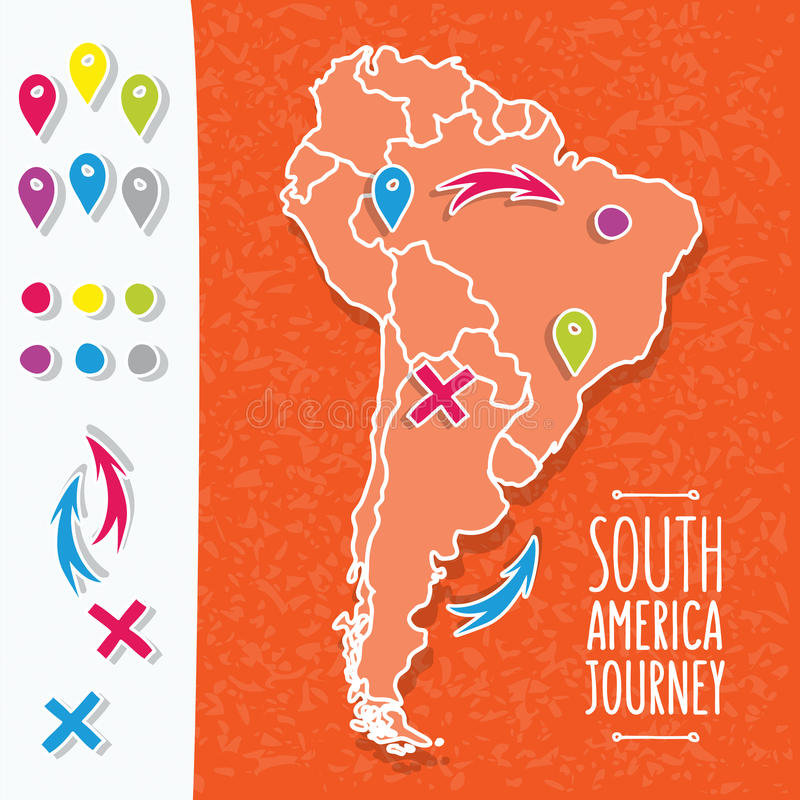 Orange hand drawn South America map with map pins stock illustration