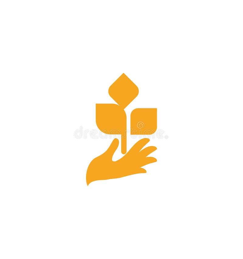Orange hand with leaves. Sprout, new life. Nature element logotype. Agricultural organic product sign. Harvesting vector vector illustration