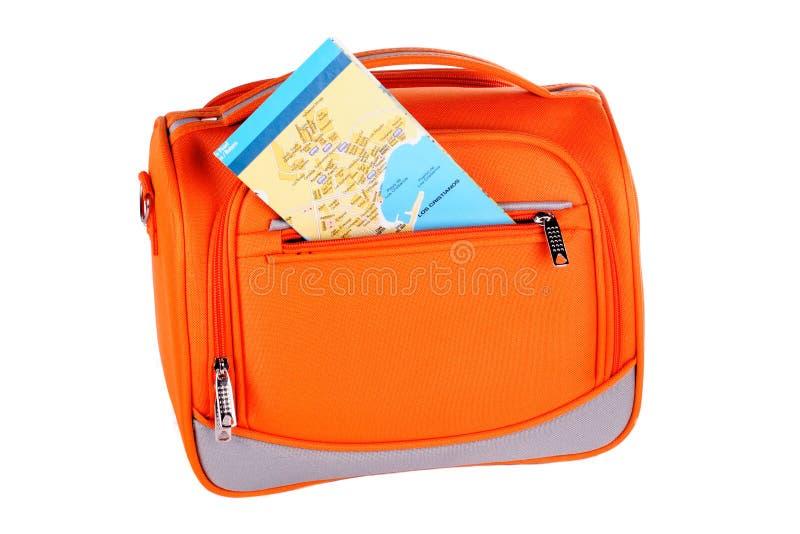 Orange Handtasche mit Karte lizenzfreies stockfoto