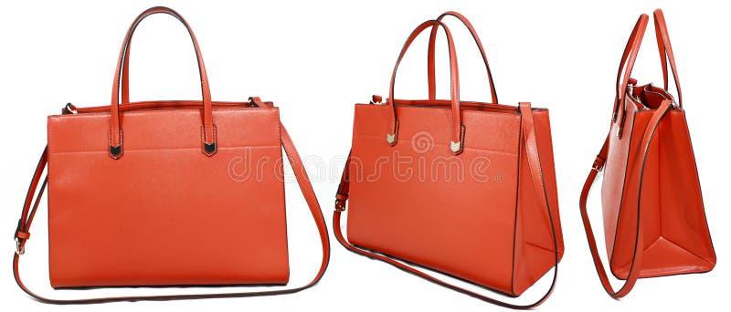 Orange handväska royaltyfria bilder