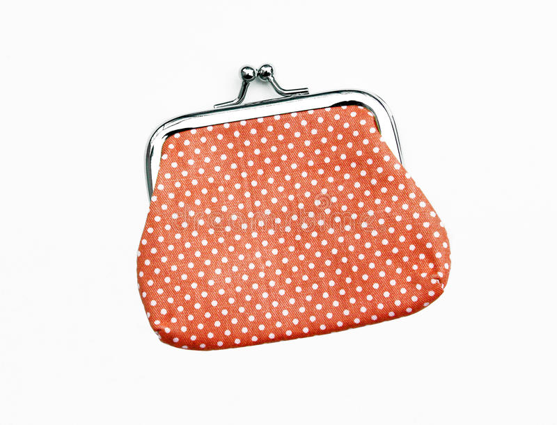 Orange handväska för rät maskaändringsmynt royaltyfri foto