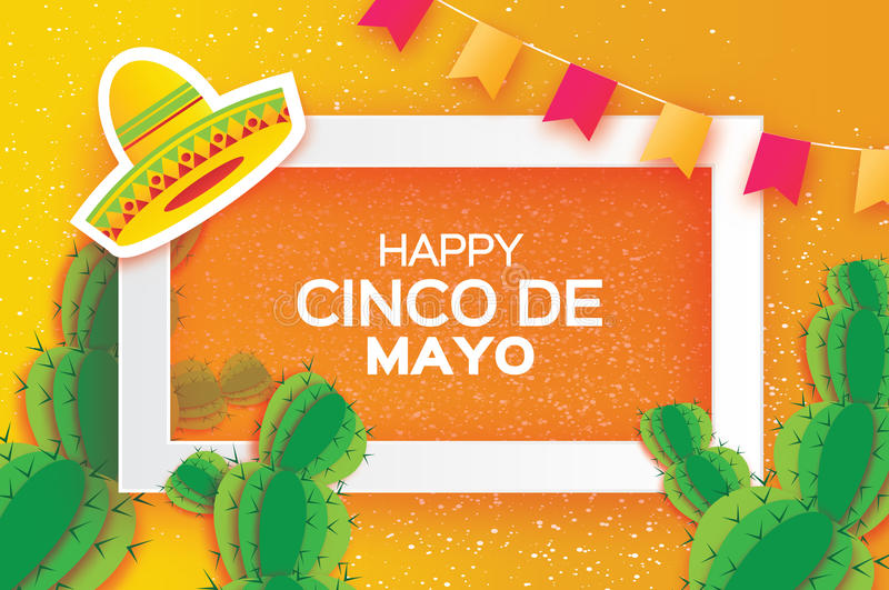 Orange Happy Cinco de Mayo Greeting card. Origami Mexican sombrero hat, succulents, flags. Square frame. Happy Cinco de Mayo Greeting card. Origami Mexican stock illustration