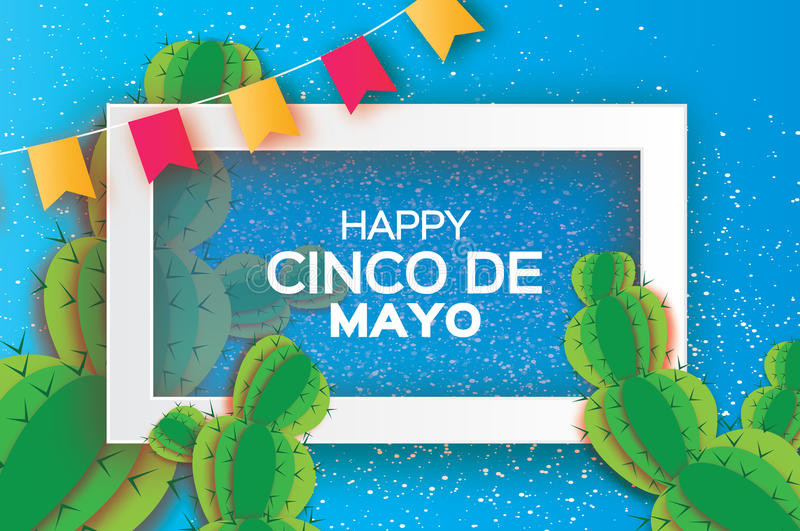 Orange Happy Cinco de Mayo Greeting card. Origami Mexican succulents,flags. Square frame stock illustration