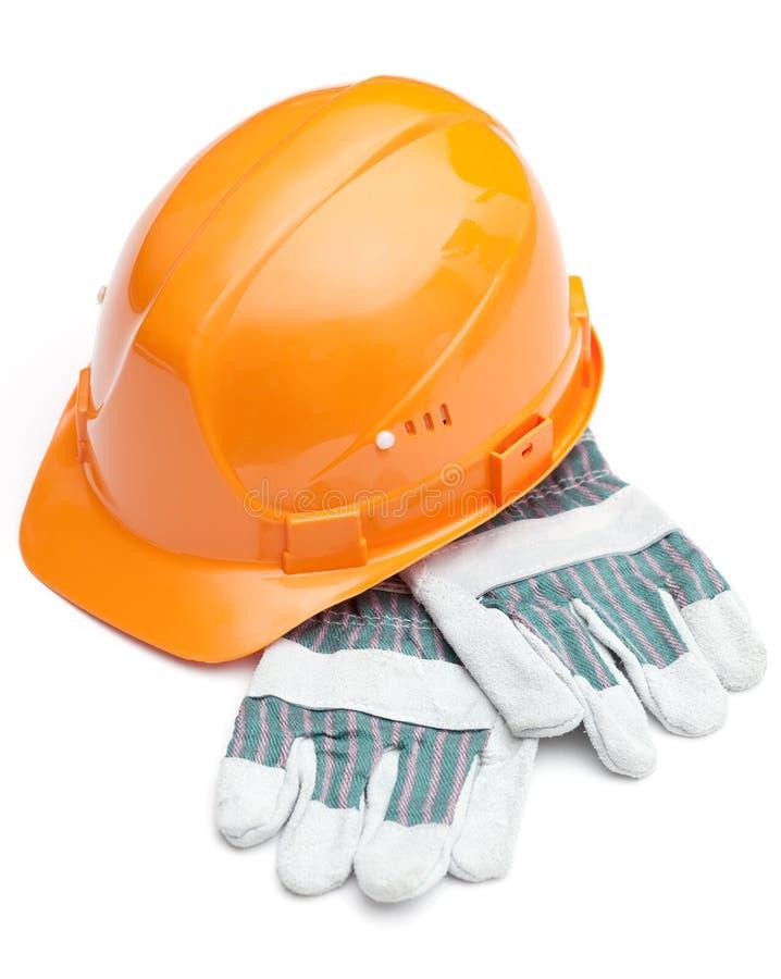 Download Orange Hard Hat On The Gloves Stock Image - Image: 25918943