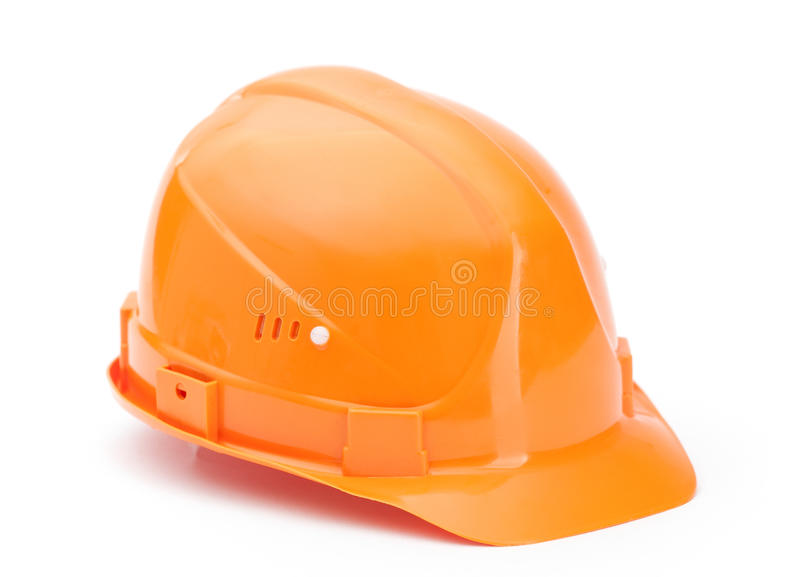 Orange hard hat, isolated on white stock photography