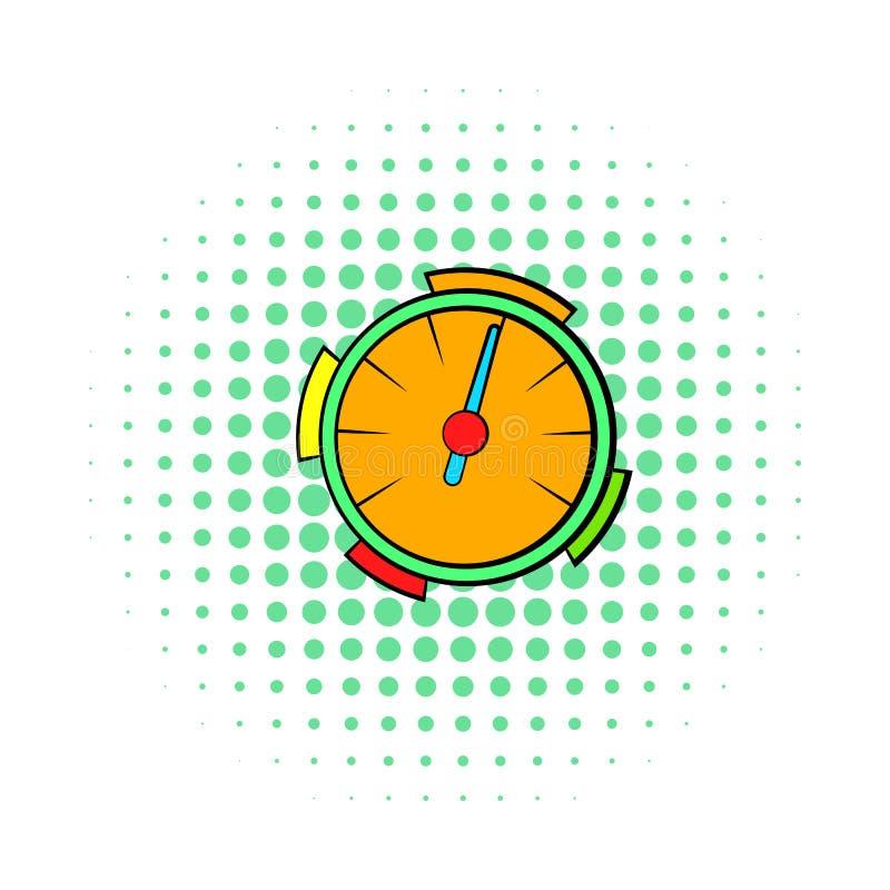 Orange hastighetsmätaresymbol, komikerstil royaltyfri illustrationer