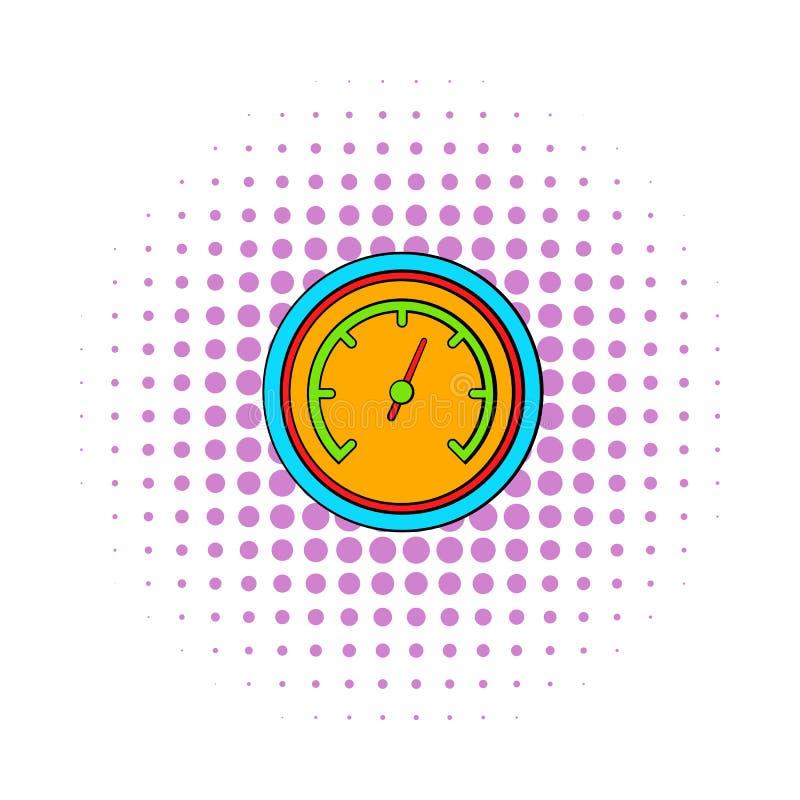 Orange hastighetsmätaresymbol, komikerstil stock illustrationer