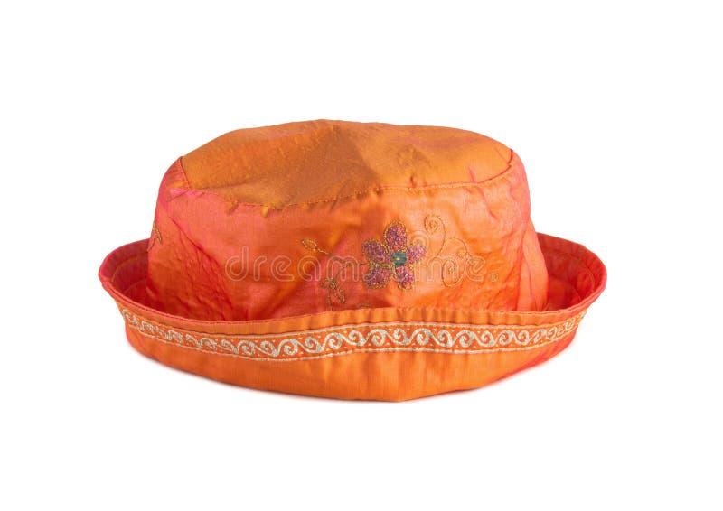 Orange hatt för kvinna med broderi royaltyfri fotografi