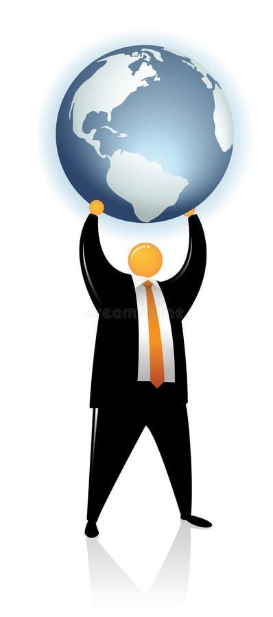Orange Haupt heben eine Kugel-Erde an vektor abbildung