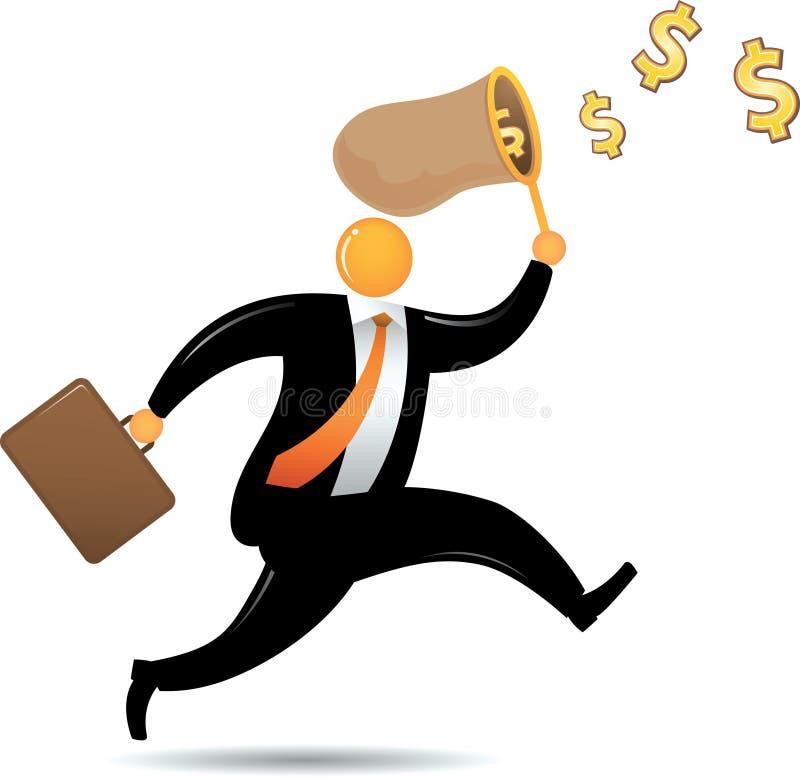 Orange Hauptmann, der Dollar jagt stock abbildung